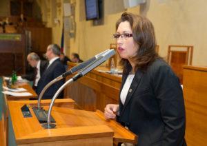 Ivana Cabrnochová hovoří na schůzi Senátu